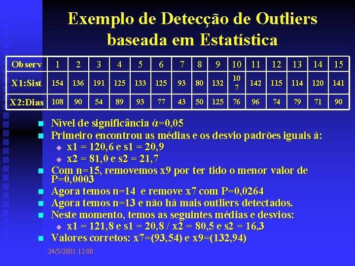 Exemplo de Detecção de Outliers baseada em Estatística Observ 1 2 3 4 5