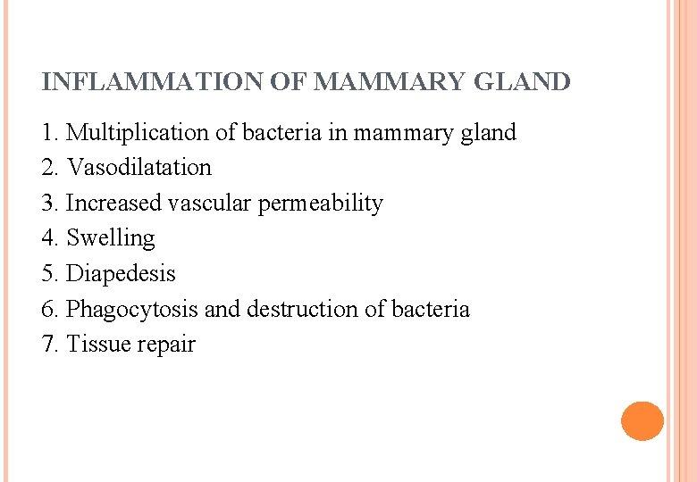 INFLAMMATION OF MAMMARY GLAND 1. Multiplication of bacteria in mammary gland 2. Vasodilatation 3.