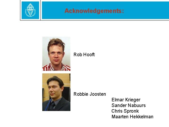 Acknowledgements: Rob Hooft Robbie Joosten Elmar Krieger Sander Nabuurs Chris Spronk Maarten Hekkelman