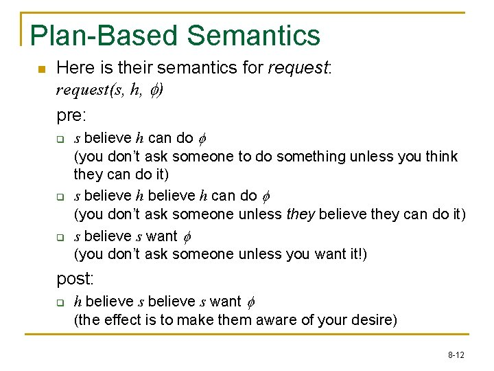Plan-Based Semantics n Here is their semantics for request: request(s, h, f) pre: q
