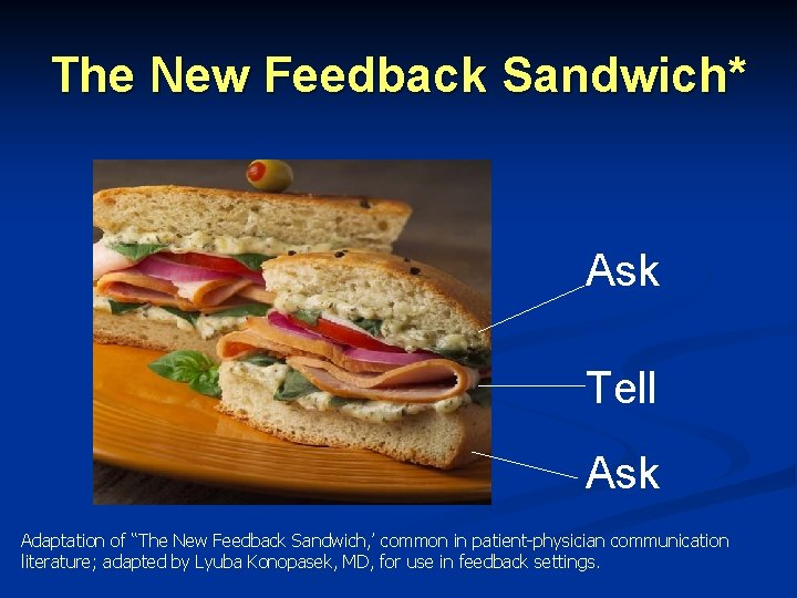 """The New Feedback Sandwich* Ask Tell Ask Adaptation of """"The New Feedback Sandwich, '"""