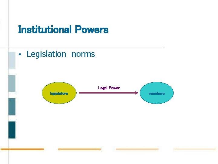 Institutional Powers § Legislation norms Legal Power legislators members
