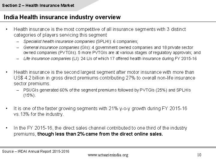 Section 2 – Health Insurance Market India Health insurance industry overview • Health insurance