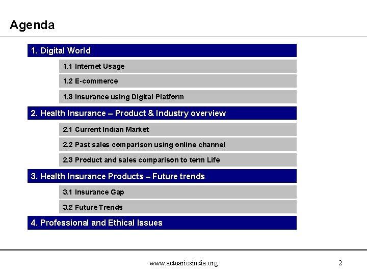 Agenda 1. Digital World 1. 1 Internet Usage 1. 2 E-commerce 1. 3 Insurance