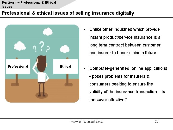 Section 4 – Professional & Ethical Issues Professional & ethical issues of selling insurance