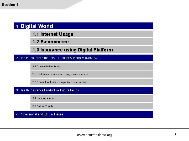 Section 1 1. Digital World 1. 1 Internet Usage 1. 2 E-commerce 1. 3
