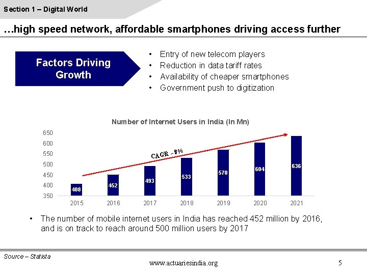 Section 1 – Digital World …high speed network, affordable smartphones driving access further •