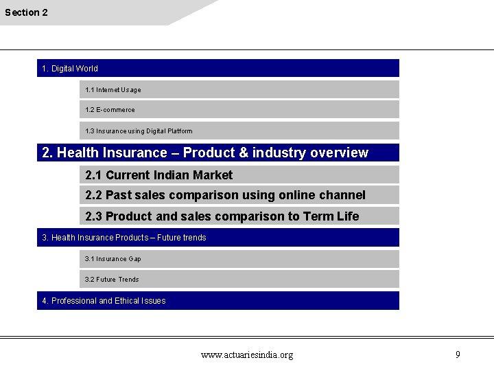 Section 2 1. Digital World 1. 1 Internet Usage 1. 2 E-commerce 1. 3