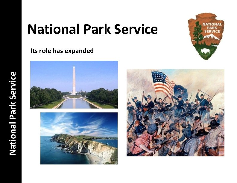 National Park Service Its role has expanded
