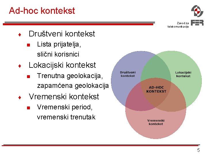 Ad-hoc kontekst Zavod za telekomunikacije ¨ Društveni kontekst < ¨ Lokacijski kontekst < ¨