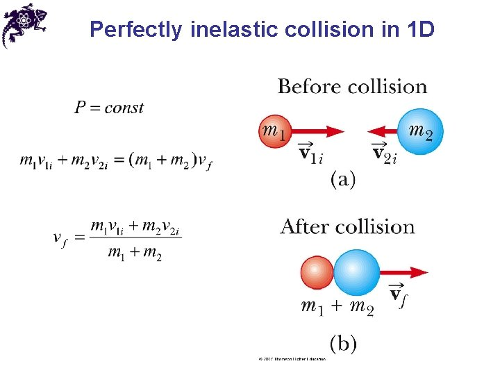 Perfectly inelastic collision in 1 D