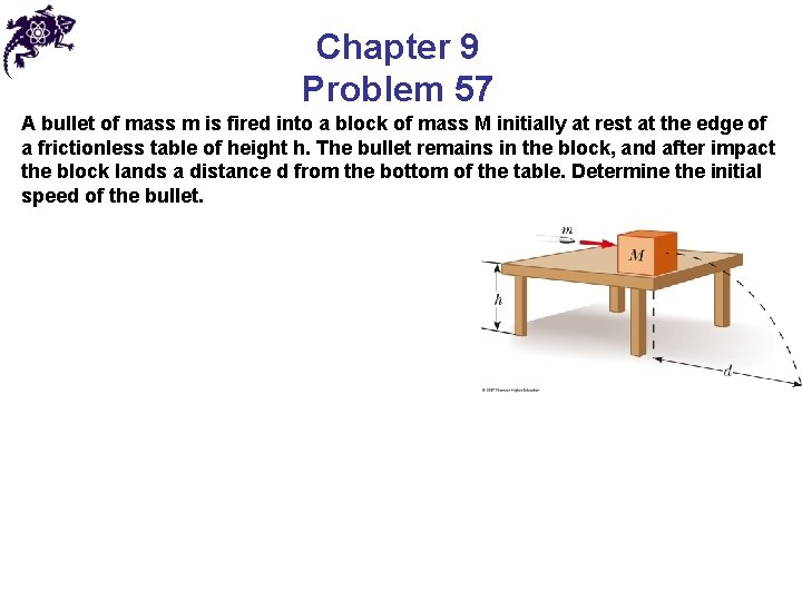 Chapter 9 Problem 57 A bullet of mass m is fired into a block