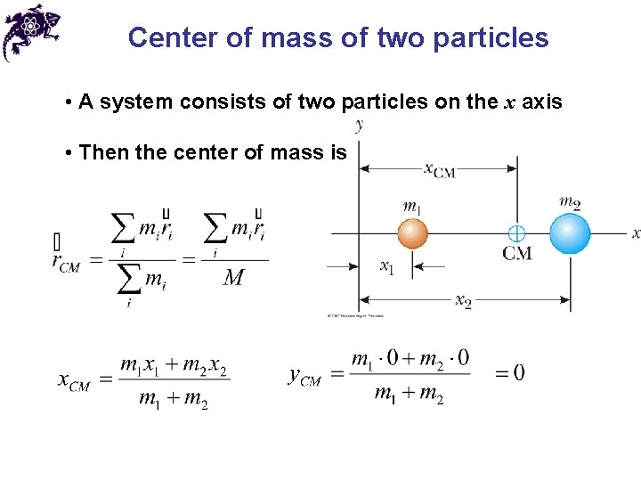 Center of mass of two particles • A system consists of two particles on