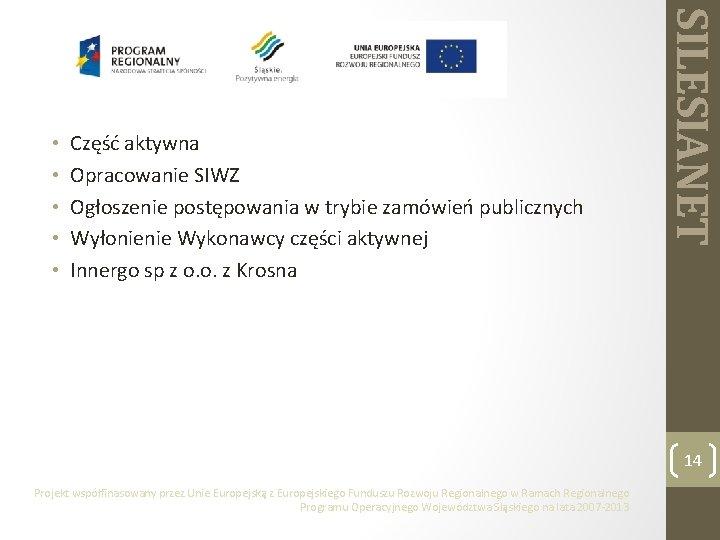 Część aktywna Opracowanie SIWZ Ogłoszenie postępowania w trybie zamówień publicznych Wyłonienie Wykonawcy części aktywnej