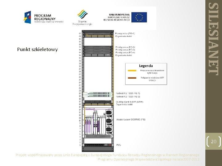 SILESIANET Punkt szkieletowy 20 Projekt współfinasowany przez Unie Europejską z Europejskiego Funduszu Rozwoju Regionalnego