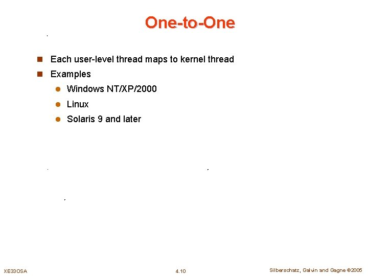 One-to-One n Each user-level thread maps to kernel thread n Examples XE 33 OSA