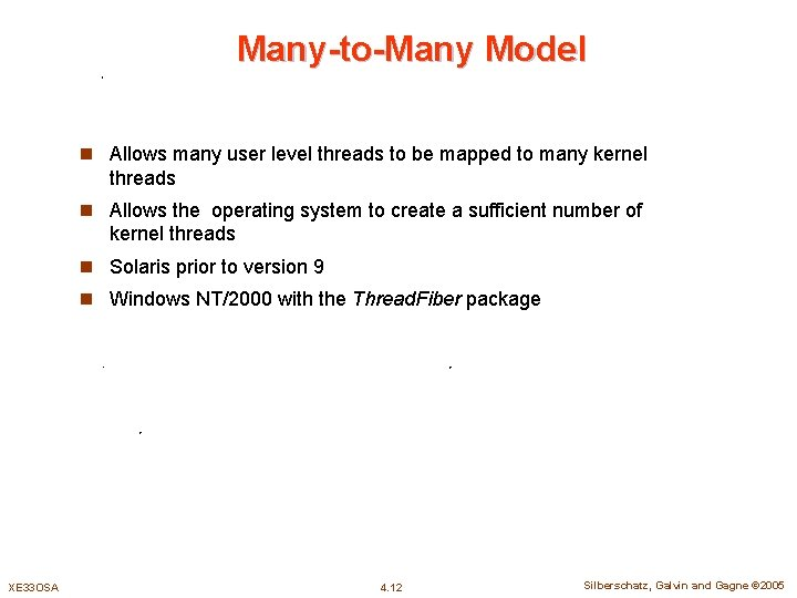 Many-to-Many Model n Allows many user level threads to be mapped to many kernel