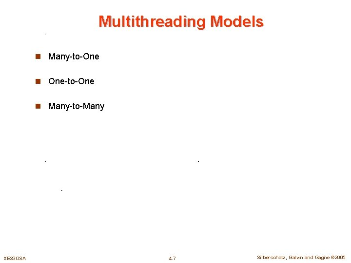 Multithreading Models n Many-to-One n One-to-One n Many-to-Many XE 33 OSA 4. 7 Silberschatz,