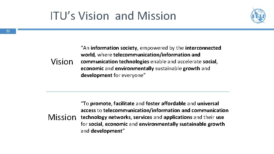 """ITU's Vision and Mission 25 Vision Mission """"An information society, empowered by the interconnected"""