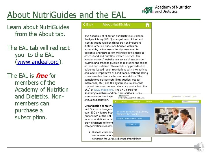 About Nutri. Guides and the EAL Learn about Nutri. Guides from the About tab.