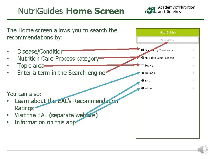 Nutri. Guides Home Screen The Home screen allows you to search the recommendations by: