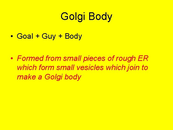 Golgi Body • Goal + Guy + Body • Formed from small pieces of