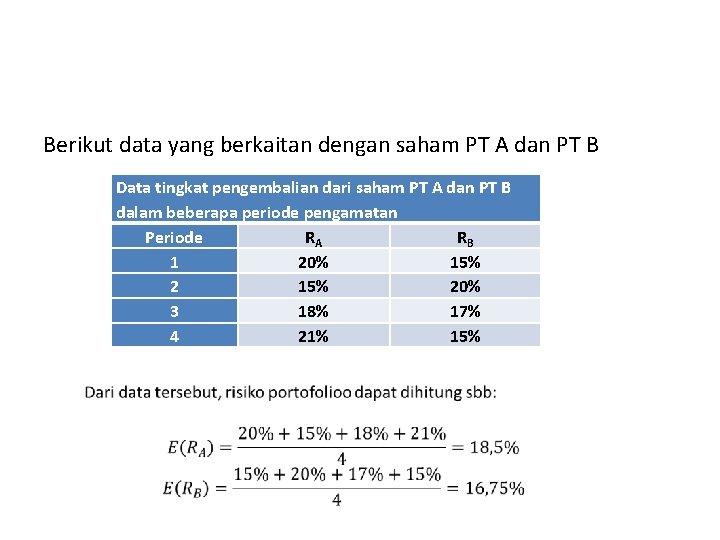 Berikut data yang berkaitan dengan saham PT A dan PT B Data tingkat pengembalian