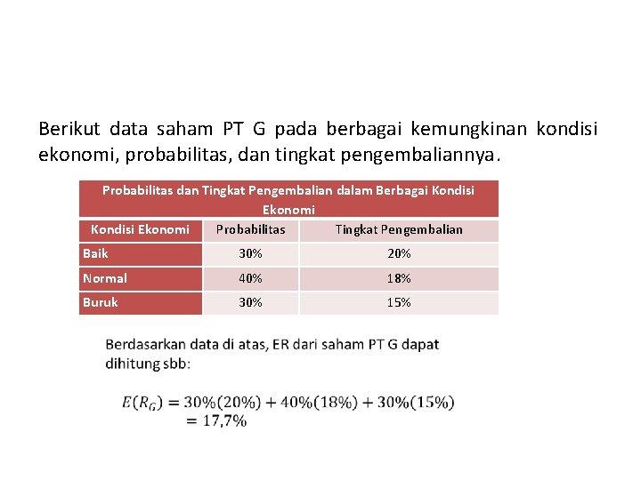 Berikut data saham PT G pada berbagai kemungkinan kondisi ekonomi, probabilitas, dan tingkat pengembaliannya.