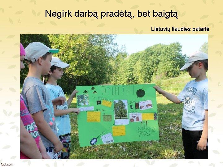 Negirk darbą pradėtą, bet baigtą Lietuvių liaudies patarlė