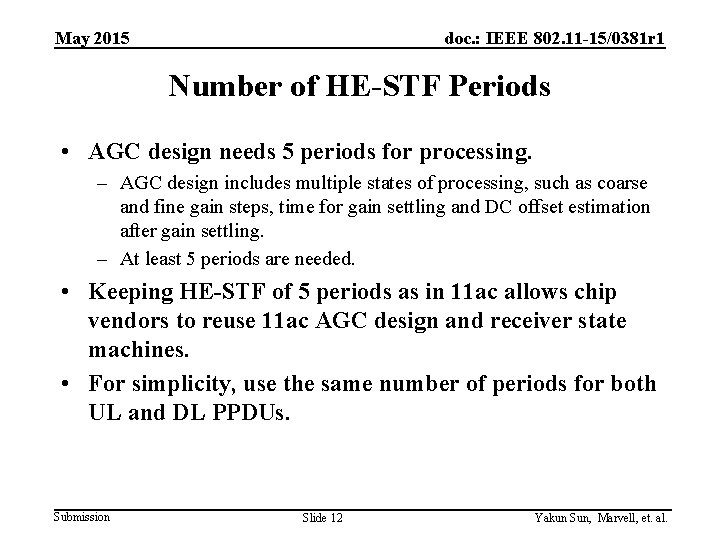 May 2015 doc. : IEEE 802. 11 -15/0381 r 1 Number of HE-STF Periods
