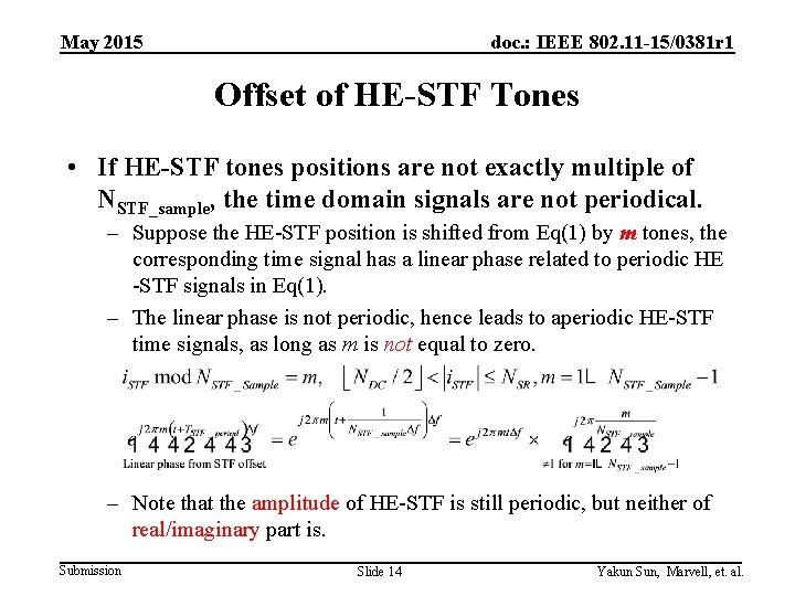 May 2015 doc. : IEEE 802. 11 -15/0381 r 1 Offset of HE-STF Tones