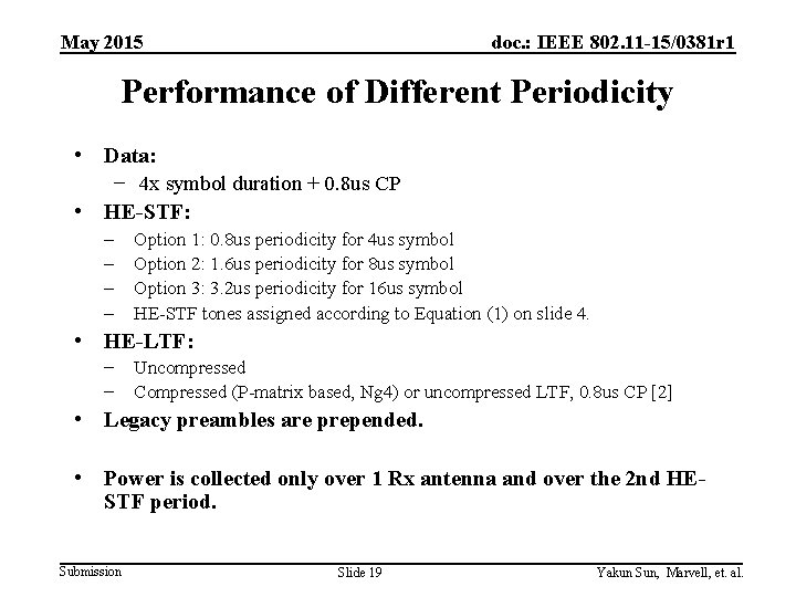 May 2015 doc. : IEEE 802. 11 -15/0381 r 1 Performance of Different Periodicity