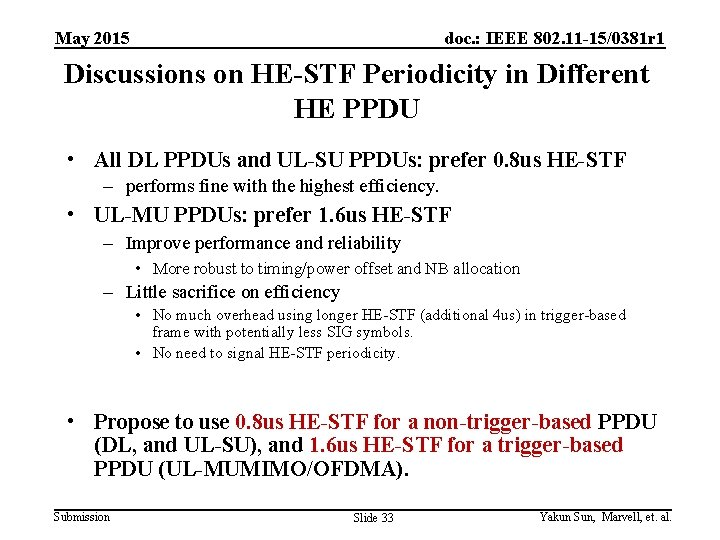 May 2015 doc. : IEEE 802. 11 -15/0381 r 1 Discussions on HE-STF Periodicity