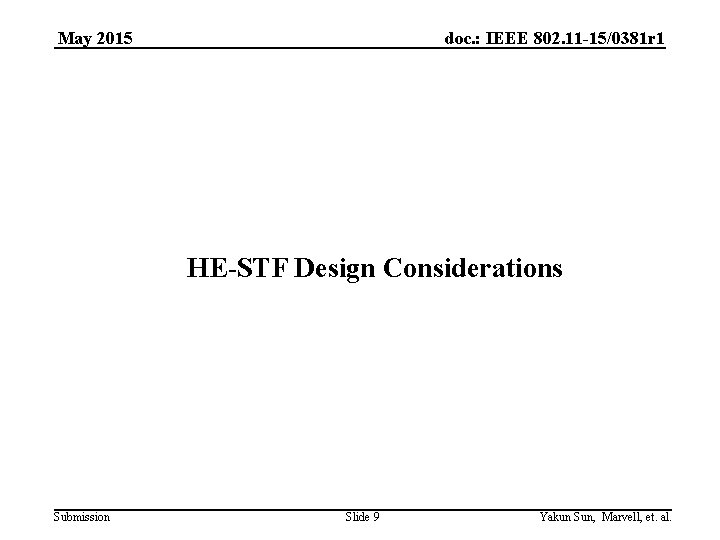 May 2015 doc. : IEEE 802. 11 -15/0381 r 1 HE-STF Design Considerations Submission