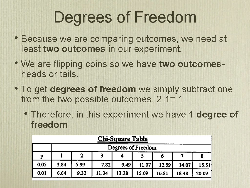 Degrees of Freedom • Because we are comparing outcomes, we need at least two