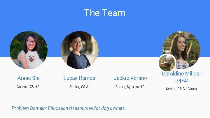 The Team Annie Shi Lucas Ramos Jackie Vertino Coterm, CS HCI Senior, CS AI