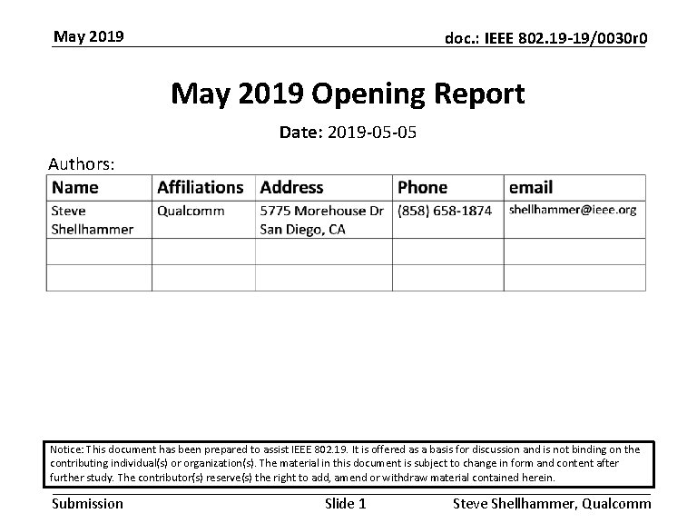May 2019 doc. : IEEE 802. 19 -19/0030 r 0 May 2019 Opening Report
