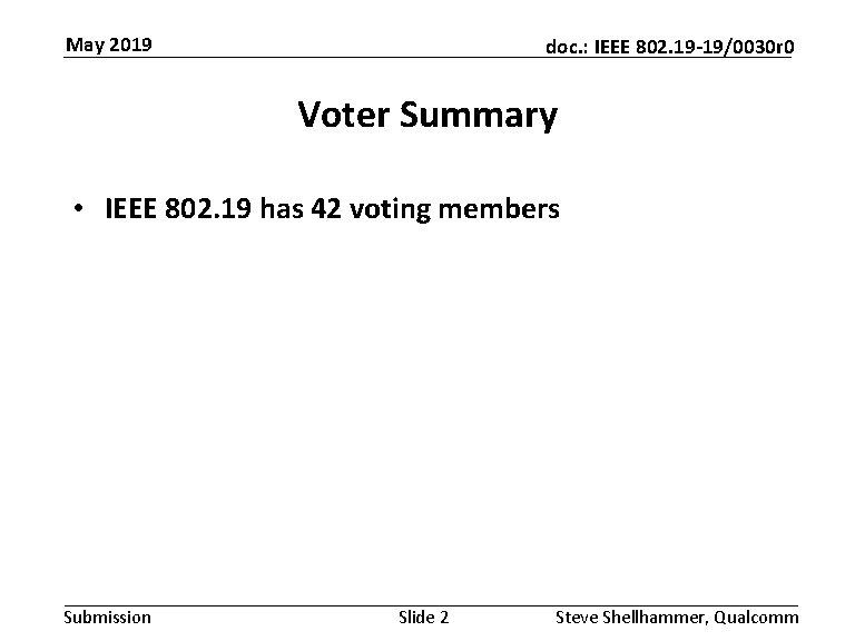 May 2019 doc. : IEEE 802. 19 -19/0030 r 0 Voter Summary • IEEE