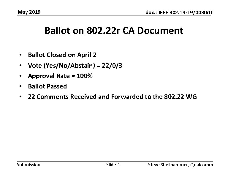 May 2019 doc. : IEEE 802. 19 -19/0030 r 0 Ballot on 802. 22