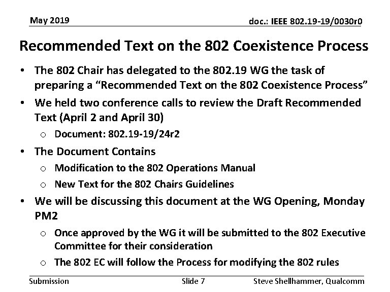 May 2019 doc. : IEEE 802. 19 -19/0030 r 0 Recommended Text on the