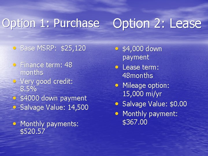 Option 1: Purchase Option 2: Lease • Base MSRP: $25, 120 • $4, 000