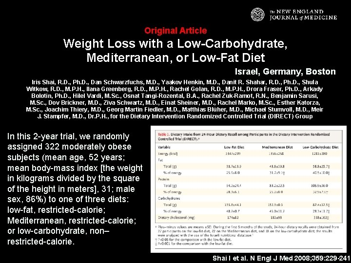Original Article Weight Loss with a Low-Carbohydrate, Mediterranean, or Low-Fat Diet Israel, Germany, Boston