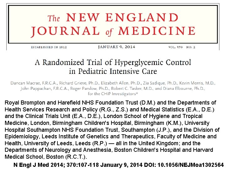 Royal Brompton and Harefield NHS Foundation Trust (D. M. ) and the Departments of