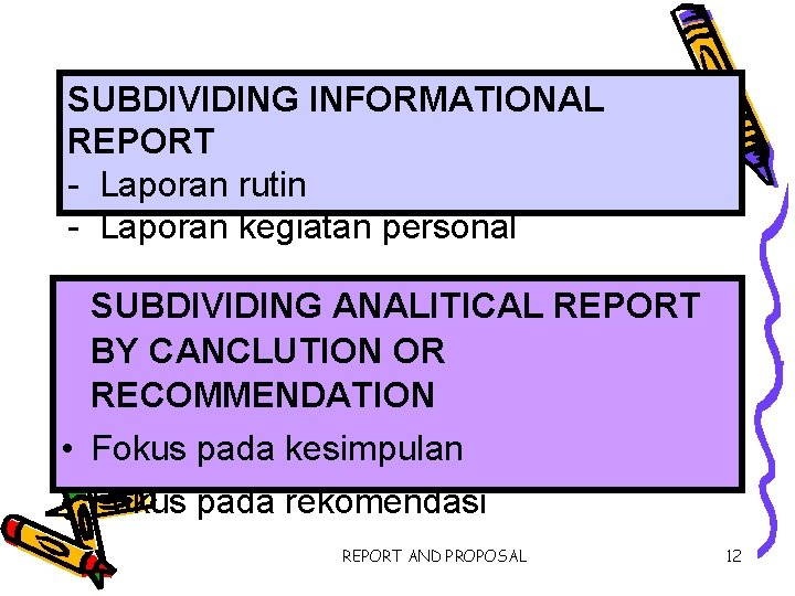 SUBDIVIDING INFORMATIONAL REPORT - Laporan rutin - Laporan kegiatan personal SUBDIVIDING ANALITICAL REPORT BY