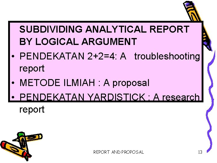 SUBDIVIDING ANALYTICAL REPORT BY LOGICAL ARGUMENT • PENDEKATAN 2+2=4: A troubleshooting report • METODE