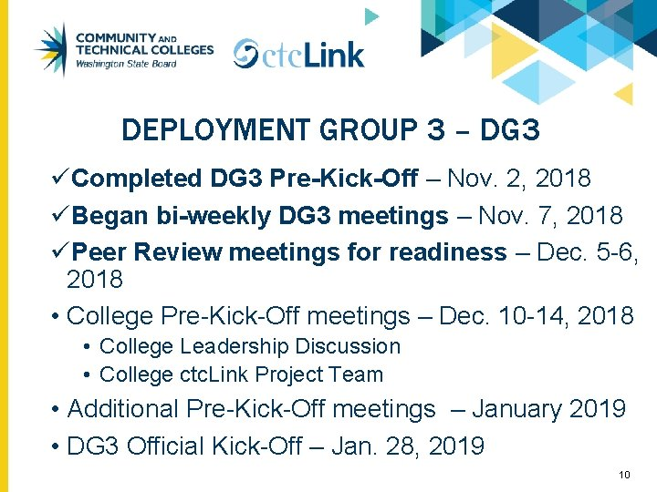 DEPLOYMENT GROUP 3 – DG 3 üCompleted DG 3 Pre-Kick-Off – Nov. 2, 2018