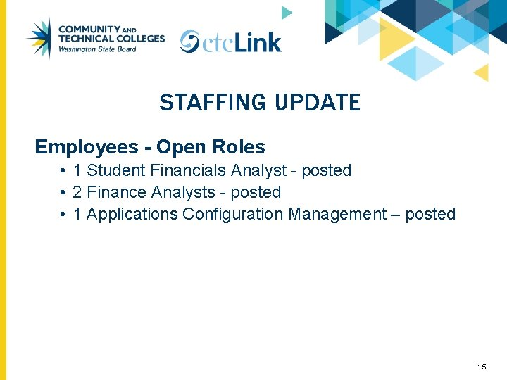 STAFFING UPDATE Employees - Open Roles • 1 Student Financials Analyst - posted •