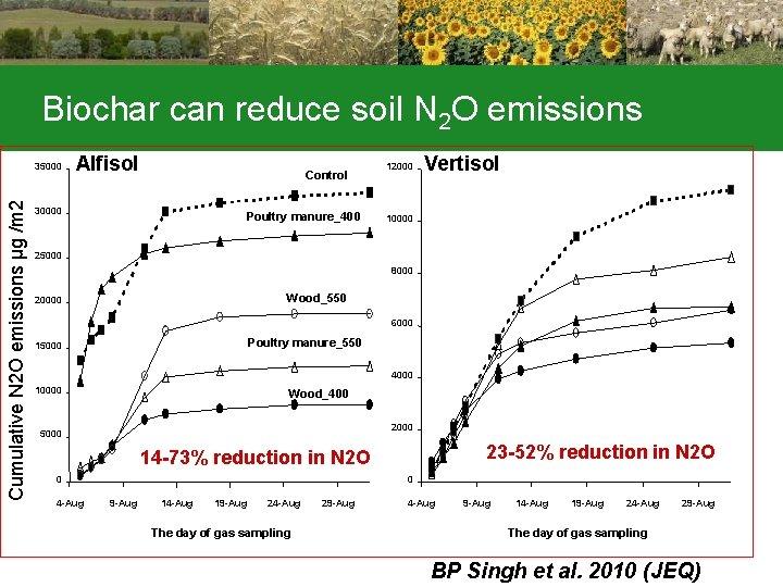 Biochar can reduce soil N 2 O emissions Cumulative N 2 O emissions µg