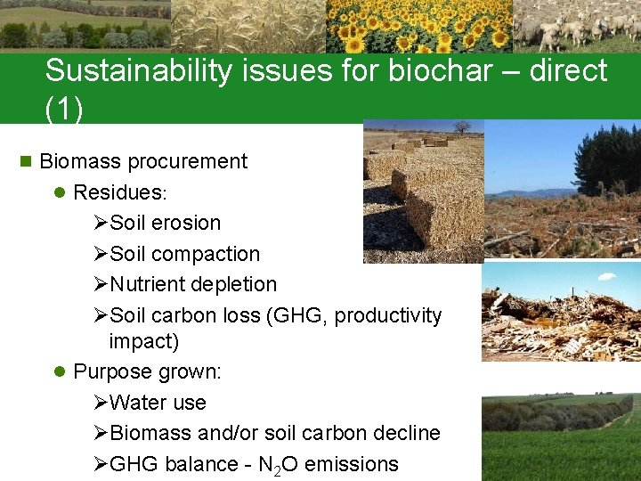 Sustainability issues for biochar – direct (1) n Biomass procurement l Residues: ØSoil erosion