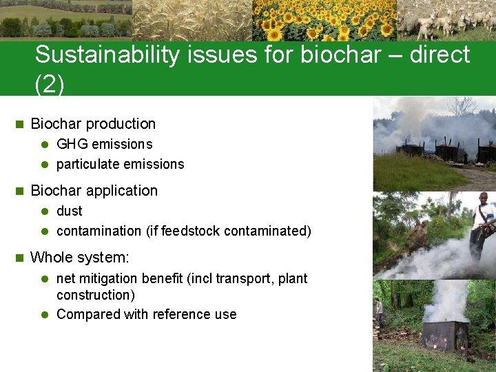 Sustainability issues for biochar – direct (2) n Biochar production l GHG emissions l
